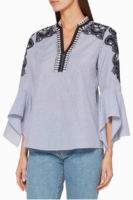 Blue & White Striped Skylyn Blouse
