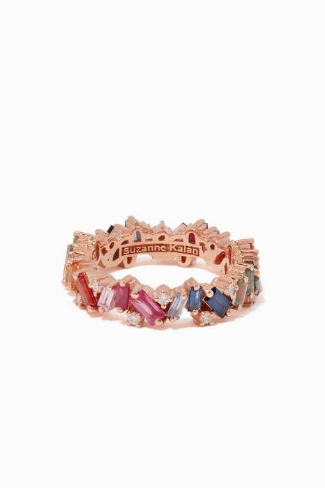 Rose-Gold & Rainbow Baguette Eternity Band