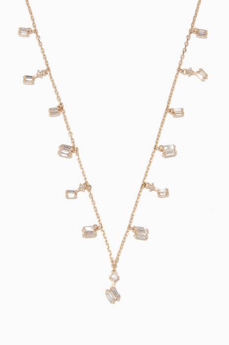 Yellow-Gold & Dangling Diamond Baguette Necklace