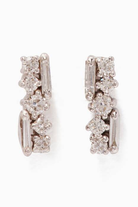 White-Gold & Diamond Post Earrings