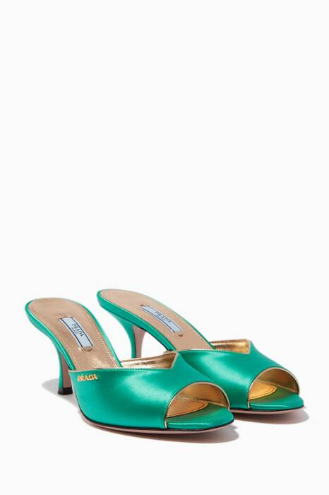 Green Leather-Trimmed Satin Mules