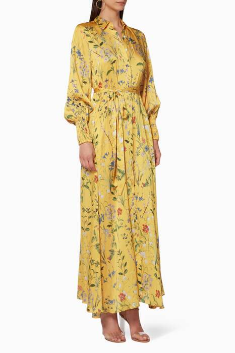 Yellow Floral-Print Irina Dress