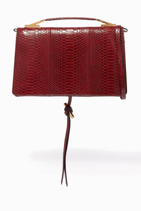 Burgundy Alter Snakeskin Medium Shoulder Bag
