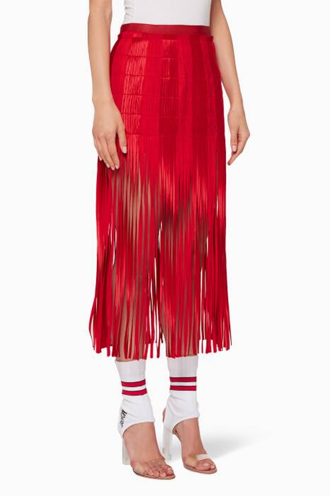 Red Spaghetti Fringed Skirt