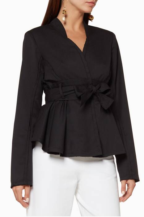 Black Peplum Nappa Jacket