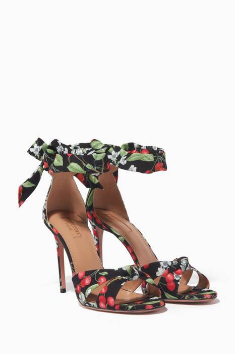 Black Cherry Blossom Printed Sandals