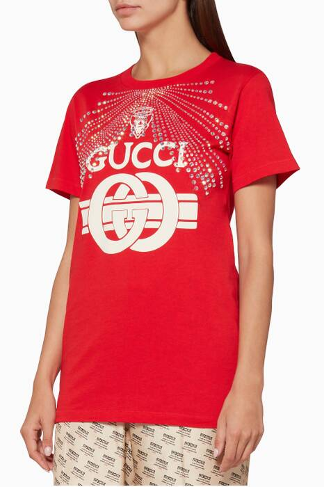 Red Crystal-Embellished Printed T-Shirt