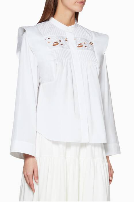 White Embroidered Pleated Shirt