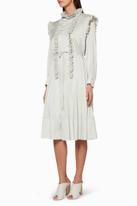 Airy-Grey Plisse-Pleated Shirt Dress