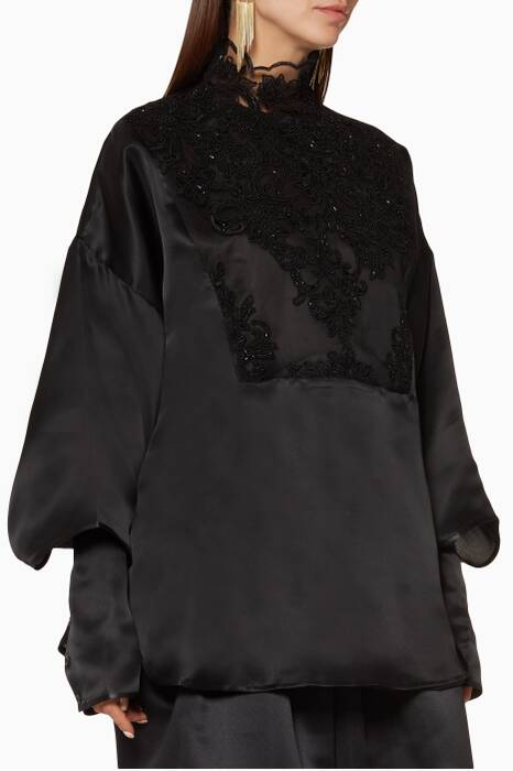 Black High-Neck Embroidered Top