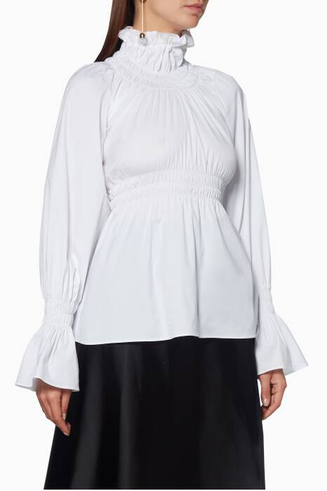 White Galileo Gathered Blouse