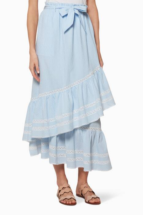 Sky-Blue Striped Cotton Skirt