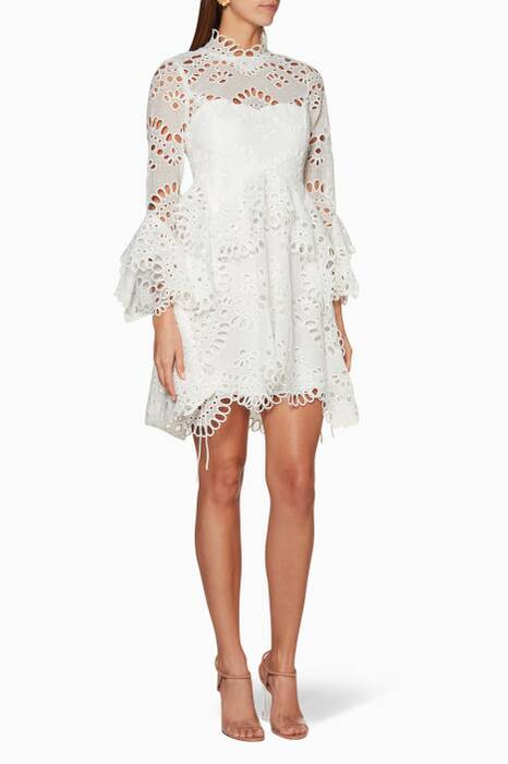 Ivory Leo Embroidered Dress