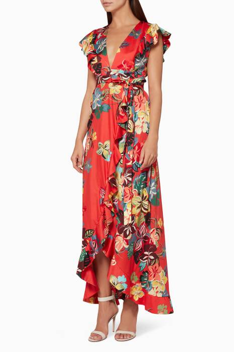 Red Janna Floral-Print Dress
