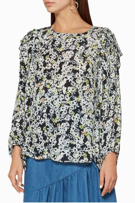 Multi-Coloured Floral-Printed Top