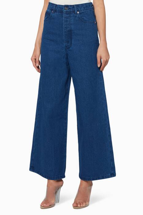 Dark-Blue Denim Ally Culotte Jeans