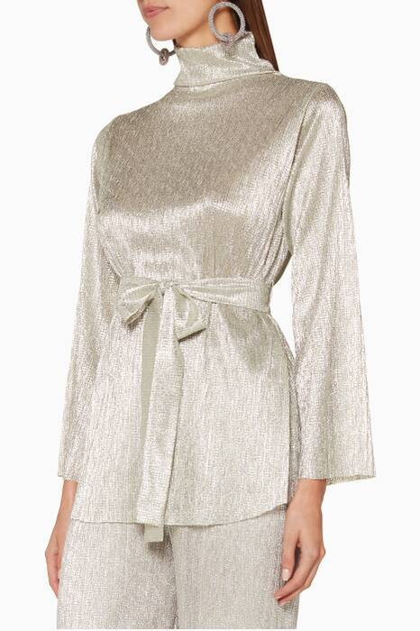 Silver Pleated Belted Top