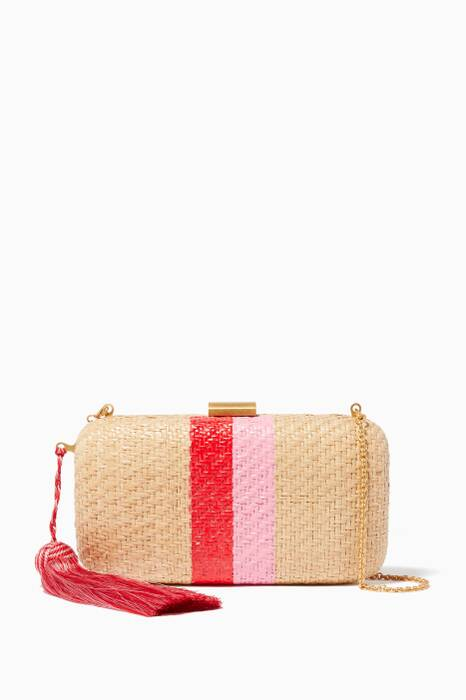 Beige Florence Striped Straw Clutch