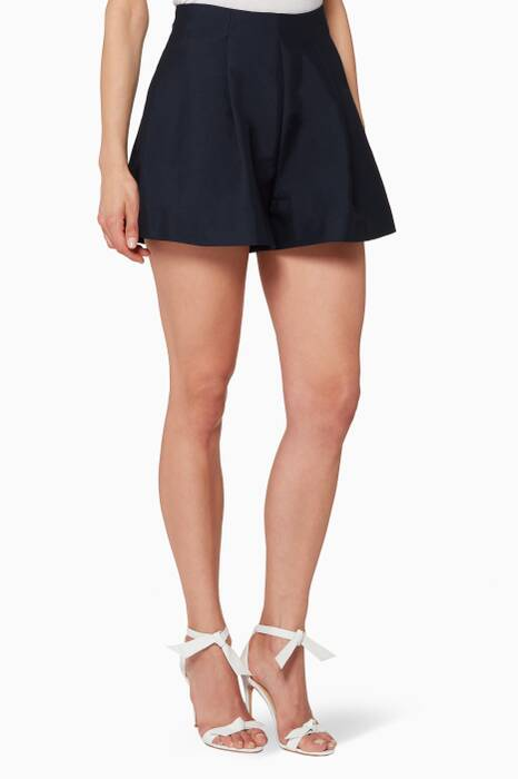 Navy Pleated Horizon Shorts