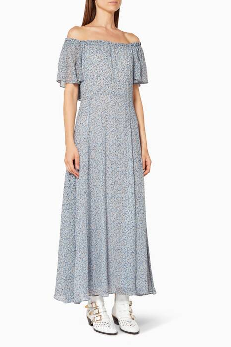 Light-Blue Evelyn Floral-Print Maxi Dress