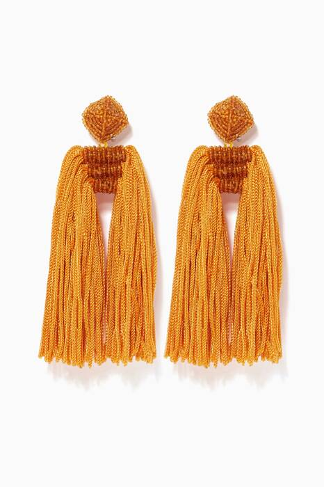 Mustard Dupio Tassel Earrings