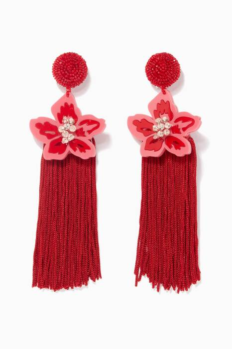 Red & Pink Luau Fringe Earrings
