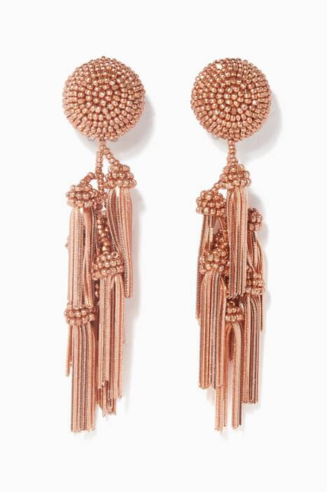 Rose-Gold Chacha Tasseled Earrings