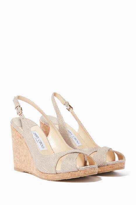 Nude-Metallic Leather Amely Slingback Wedges