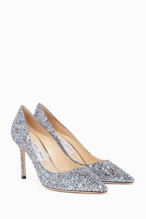 Bubblegum-Blue Glitter Romy 85 Pumps
