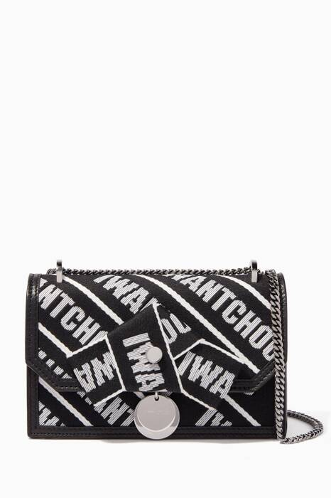 Black & White Mini Finley Tape Shoulder Bag
