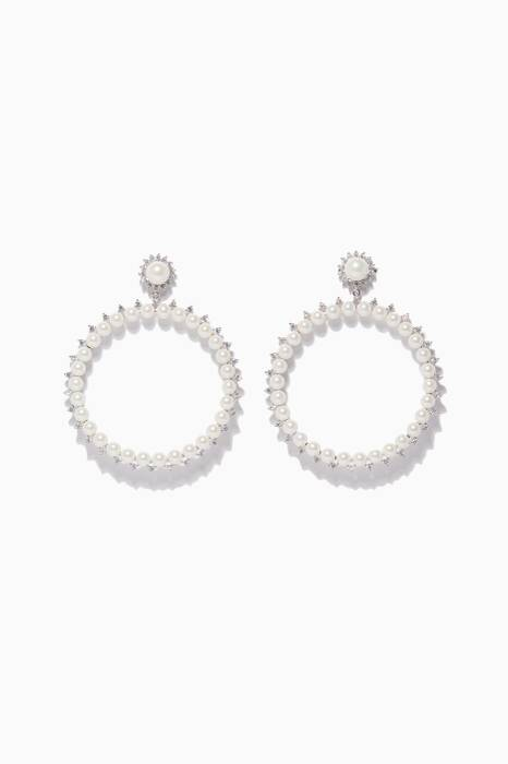 White Pearl Drama Hoop Earrings