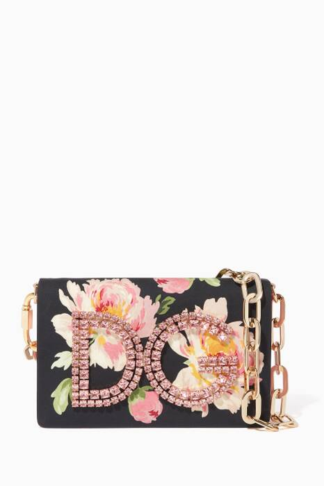 Black & Pink Rose-Print Embellished Girls Shoulder Bag
