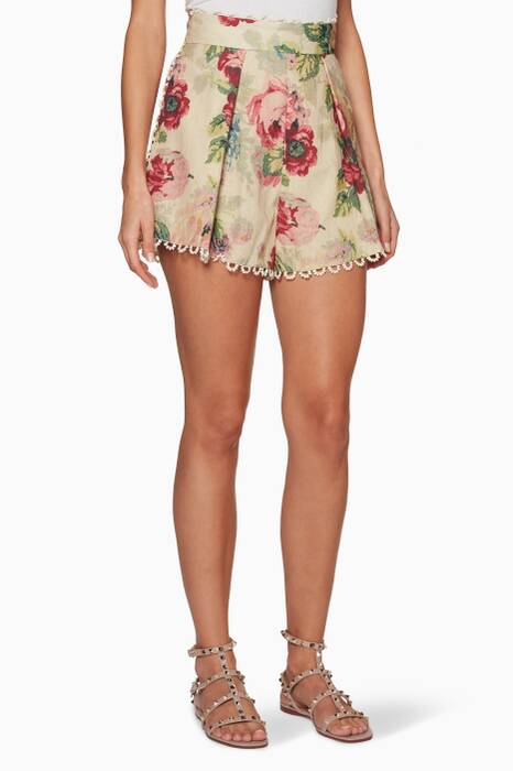 Taupe Floral-Print Melody High-Waist Short
