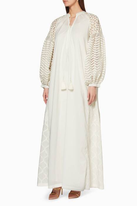 Ivory Balloon-Sleeve Alaia Dress