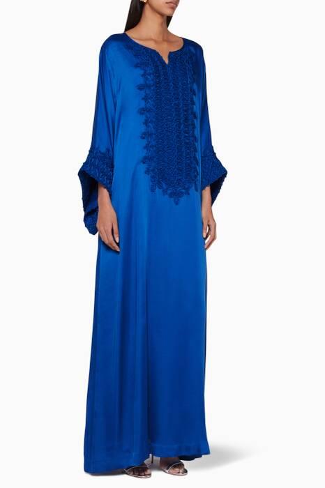 Royal-Blue Embroidered Classic Kaftan