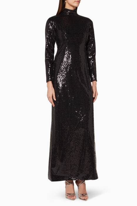 Black Sequin-Embellished Rezzan Dress