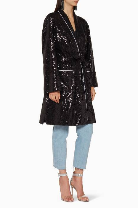 Black Oversized Sequin Cape