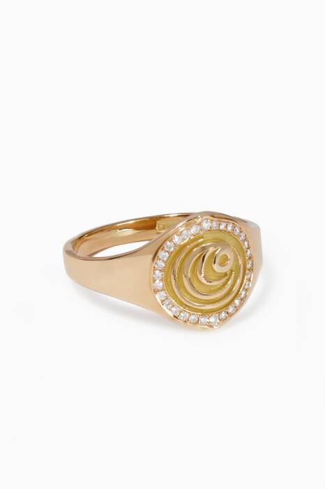 Gold Diamond Chevaliere Ring