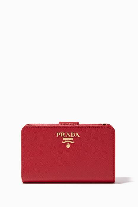 Red Saffiano-Leather Zip-Around Wallet