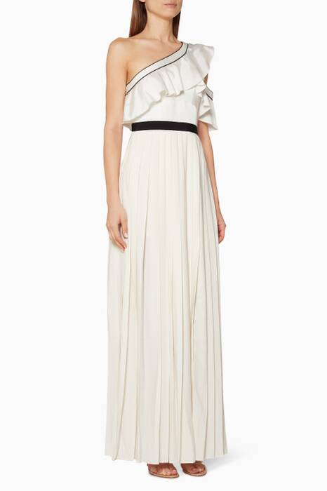 White One Shoulder Pleated Maxi Dress