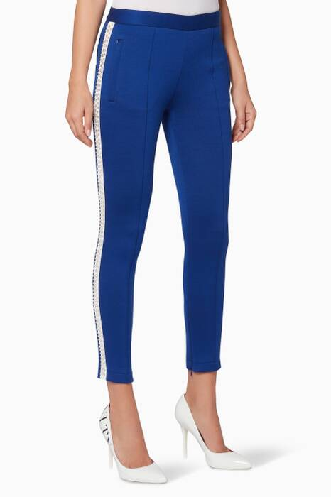 Blue Striped Crystal-Embellished Pants