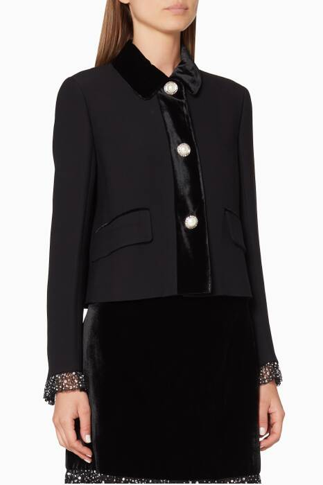 Black Velvet-Trimmed Jacket