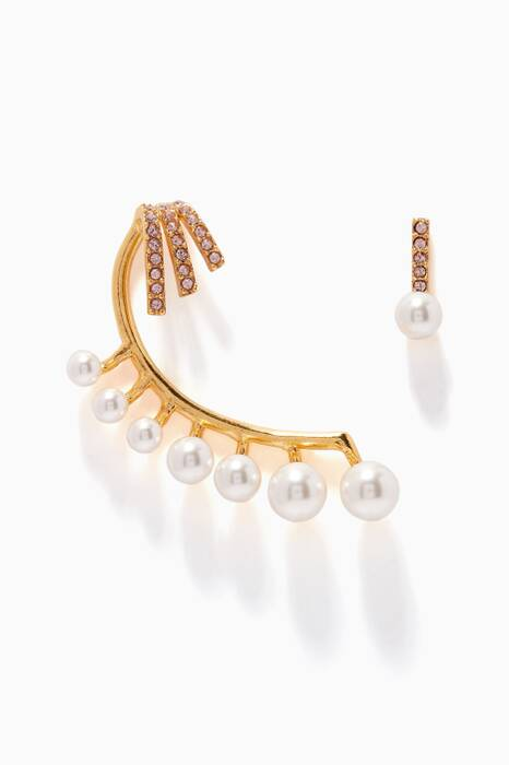 Gold Floating Pearl Cuff Earring