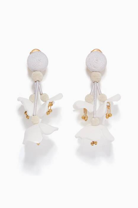 White Falling Flower C Earrings