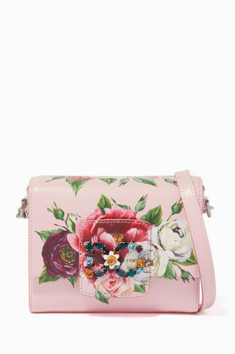 Peony-Printed Mini Leather Millennials Shoulder Bag