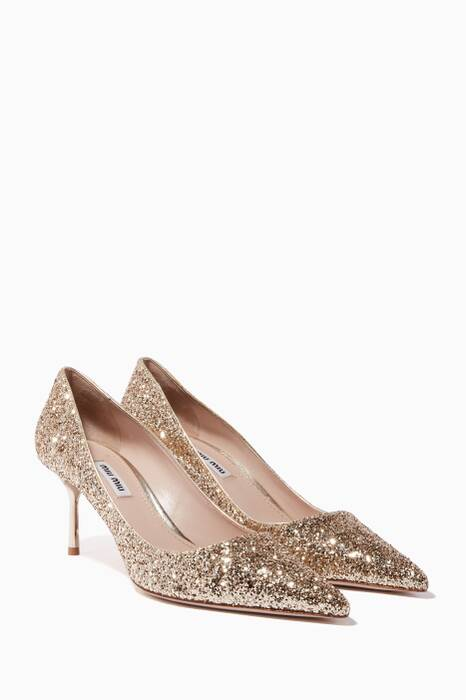 Gold Glitter Point-Toe Pumps