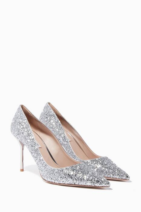 Silver Glitter Point-Toe Pumps