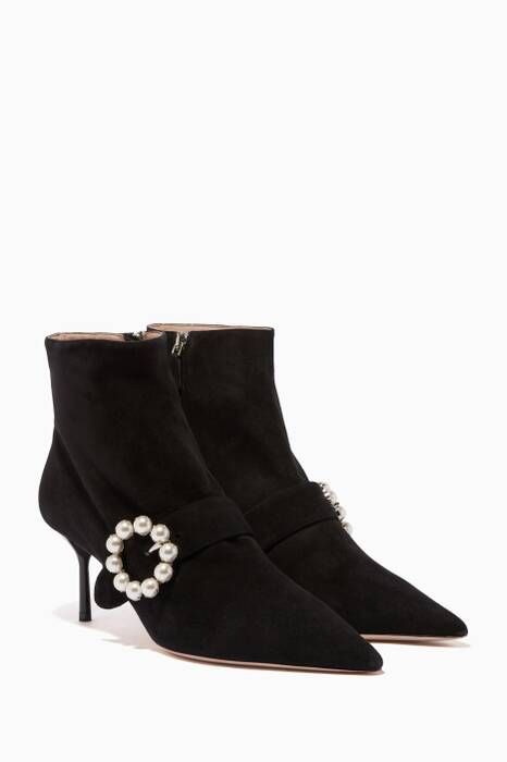 Black Faux-Pearl Suede Boots