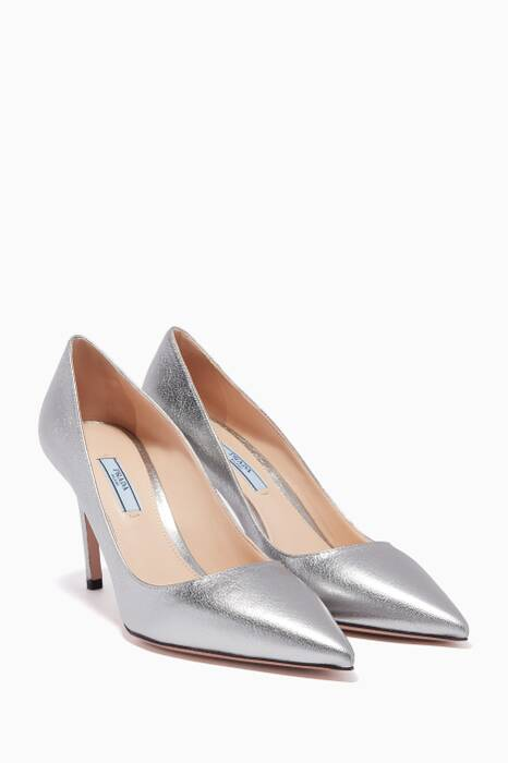 Metallic-Silver Leather Pumps