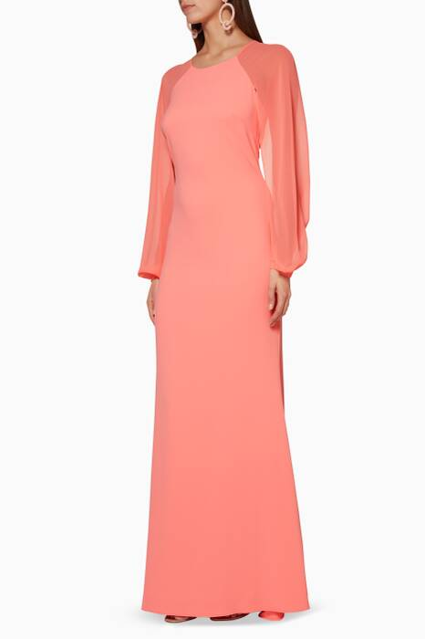 Coral Odessa Blouson Sleeve Dress